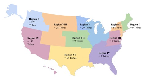 Figure 2 Map Of Ten Fema Tribal Regions With Number Of Tribes Per Region
